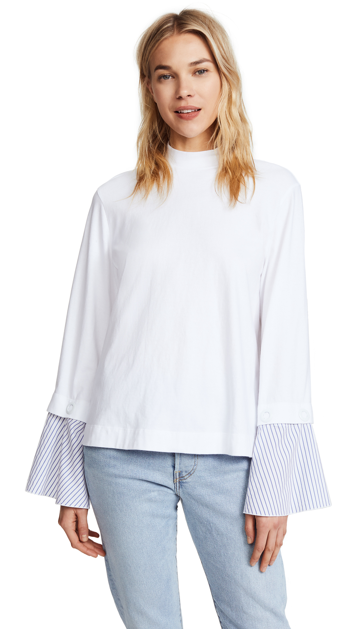 SJYP Wide Shirt Cuff Top - White