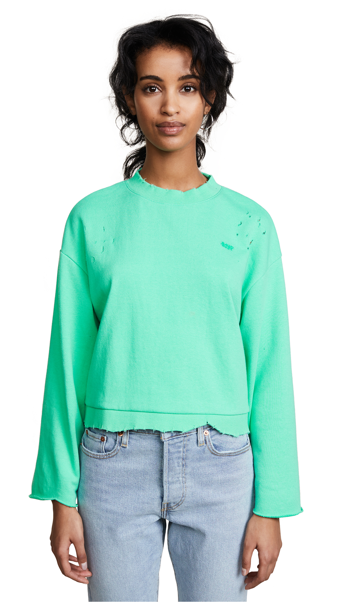 SJYP Destroyed Short Sweatshirt - Green