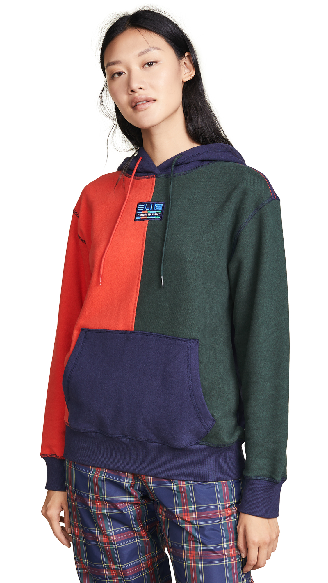 SJYP Multi Color Hoodie In Navy