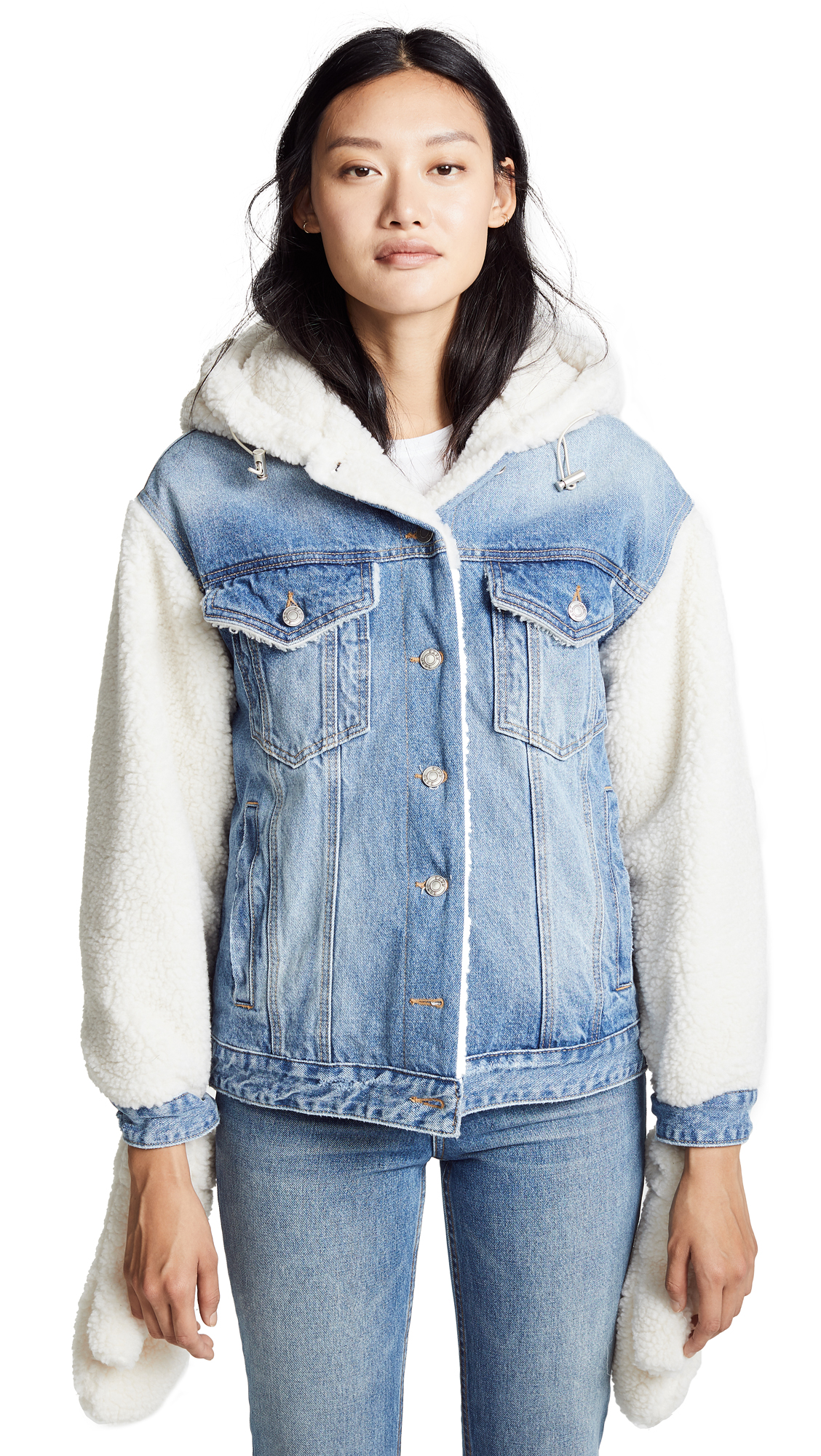 SJYP Sherpa Hoodie Denim Jacket In Denim Blue