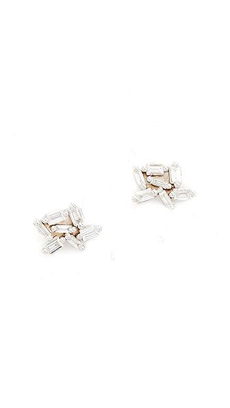 Suzanne Kalan Fireworks 18k Gold Diamond Baguette Earrings In White Gold