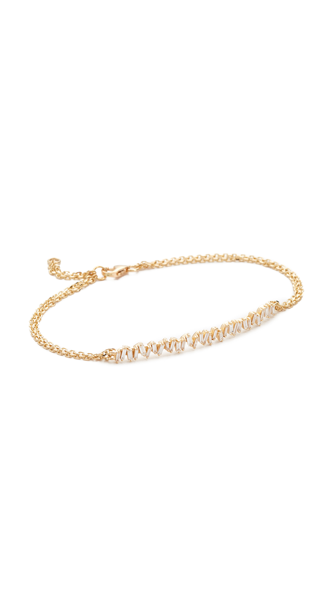 Suzanne Kalan Fireworks 18k Gold Vertical Diamond Baguette Bracelet In Yellow Gold