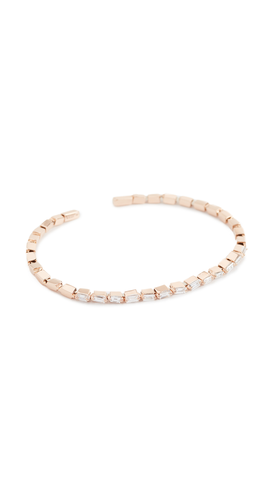 Suzanne Kalan Fireworks 18k Gold Diamond Baguette Bracelet In Rose Gold