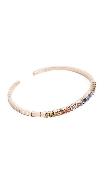 Suzanne Kalan Fireworks 18k Gold Rainbow Sapphire Cuff Bracelet In Rose Gold