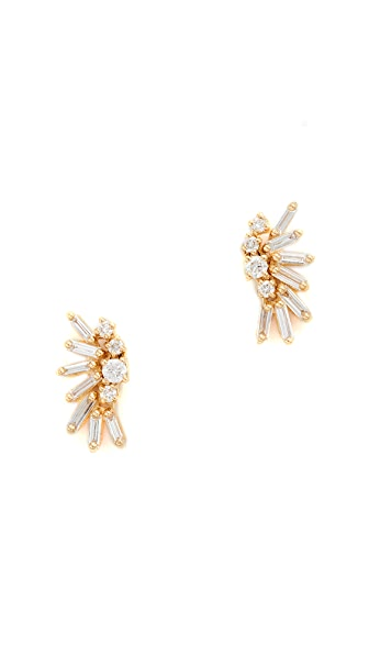Suzanne Kalan Fireworks 18k Gold Diamond Baguette Earrings