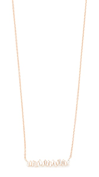 Suzanne Kalan Fireworks 18k Gold Vertical Baguette Necklace In Rose Gold