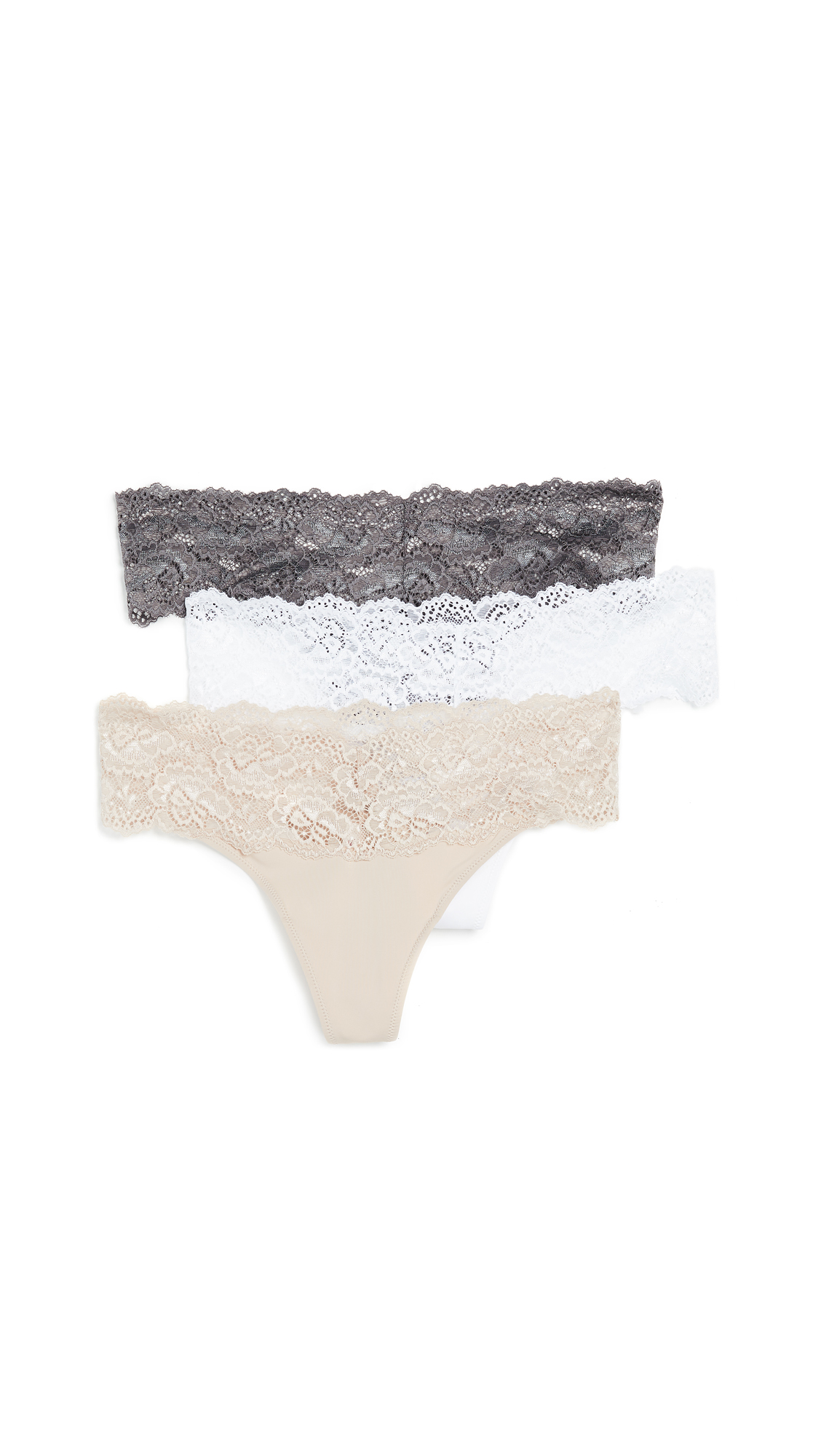 Skarlett Blue 3-Pack Goddess Thongs In Slate/Cashmere/White