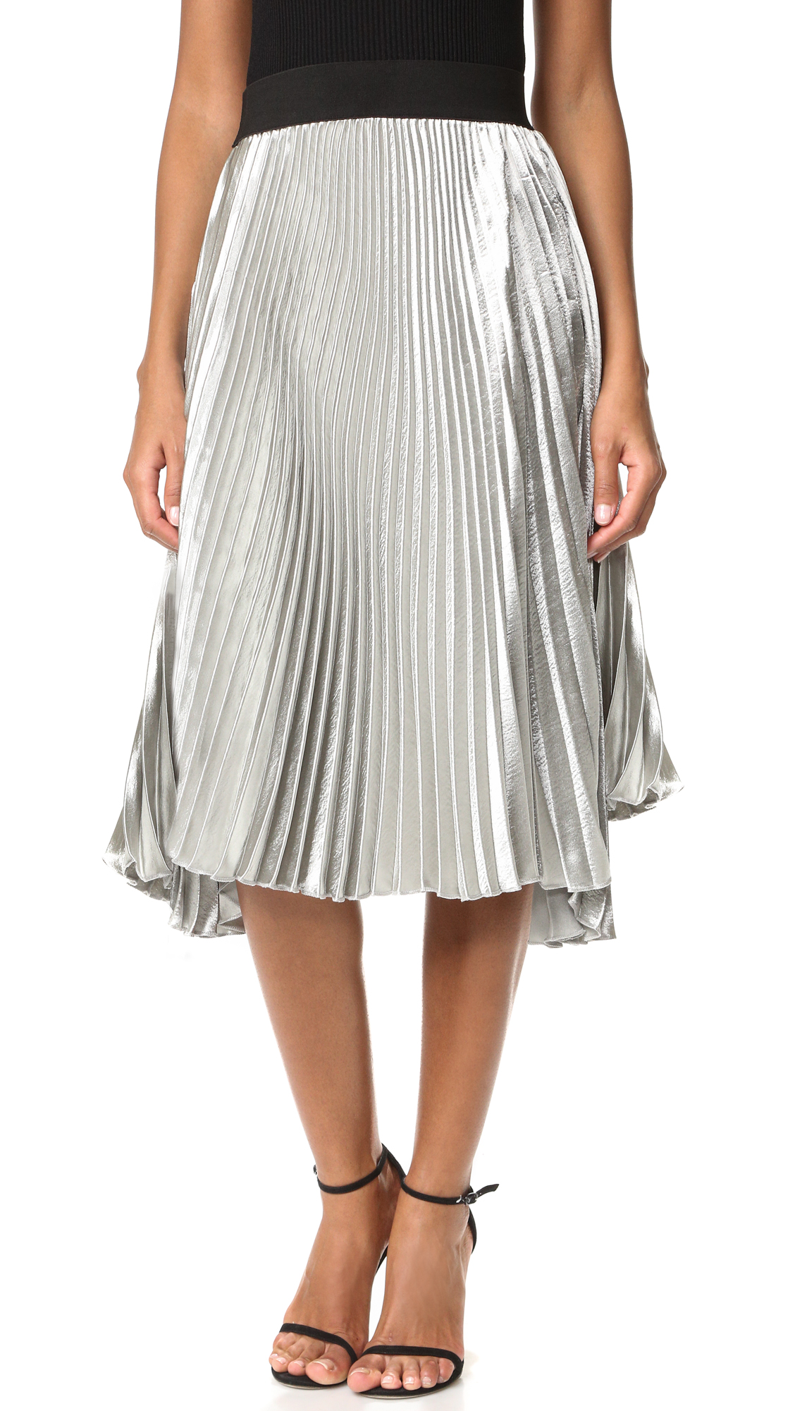 STYLEKEEPERS Retro Juliette Pleated Skirt - Metallic Silver