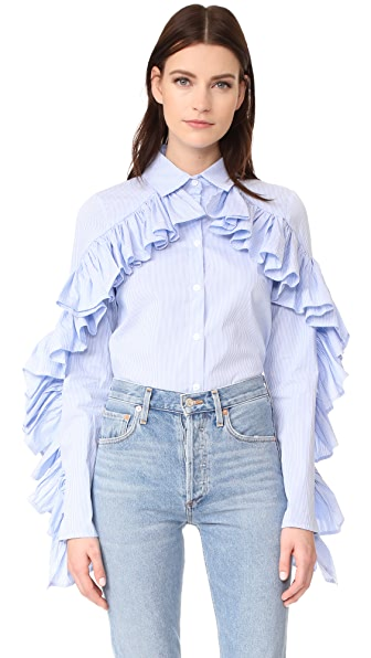 STYLEKEEPERS Don t Forget Me Ruffle Button Down - Blue Stripe