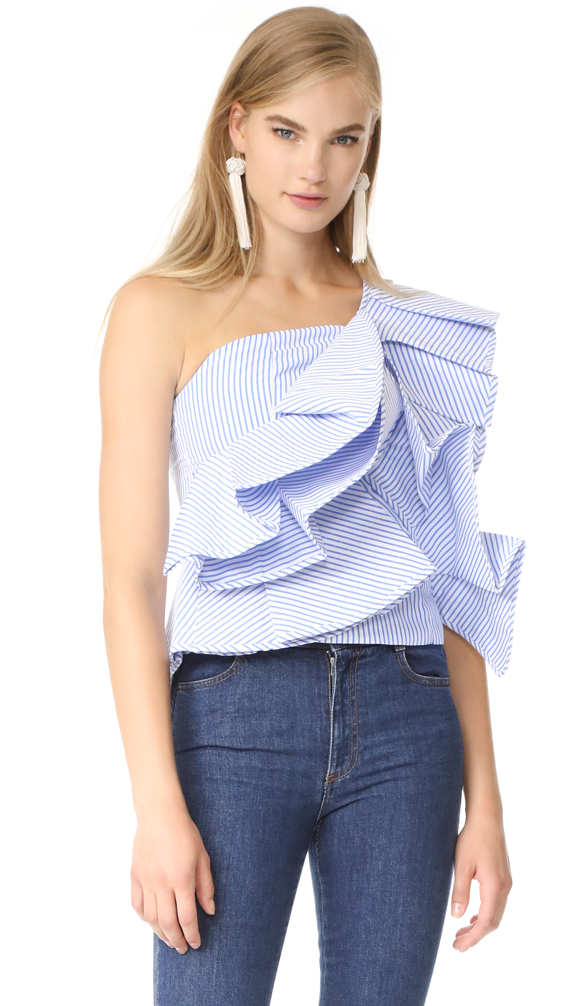STYLEKEEPERS Chic in the City Top - Pinstriped Blue