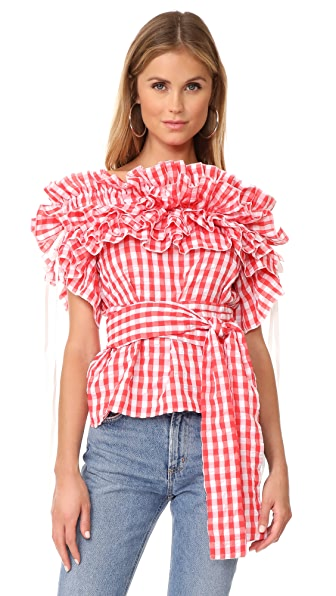 STYLEKEEPERS Sangria Top In Checked Red