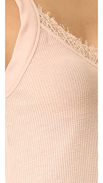 Skin Waffle Camisole with Lace