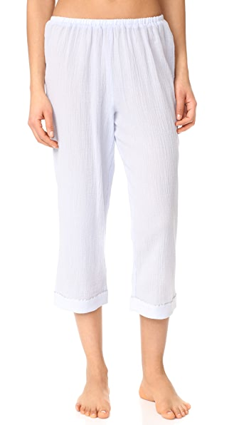 Skin PJ Crop Pants with Piping In Icy Blue/Gray Piping