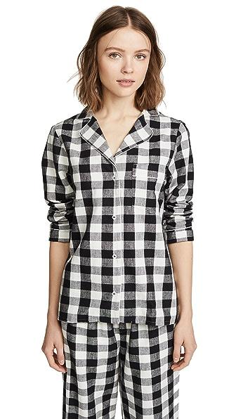 Skin Lucienne PJ Shirt In Black/White Check