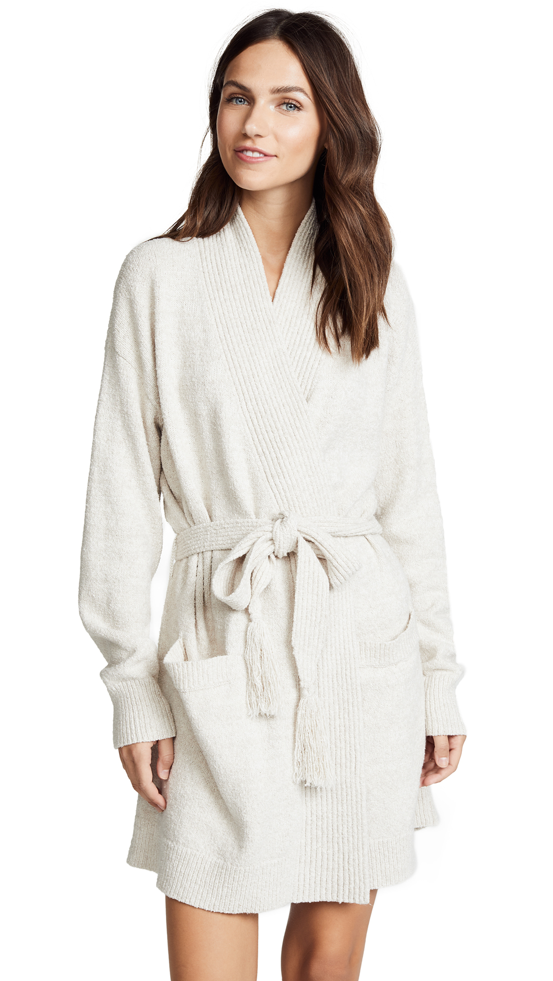 Skin Fiona Wrap Robe In White Sand