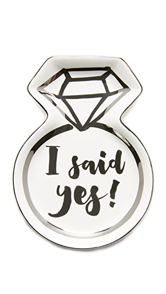 Slant Collections I Said Yes Trinket Tray - Silver