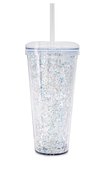 Slant Collections Confetti Tumbler In Silver Confetti