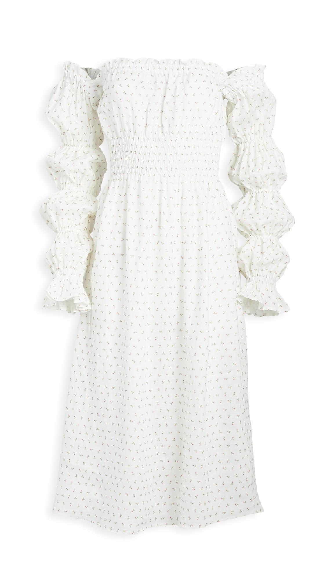 Sleeper Michelin Linen Dress In Garden Rose