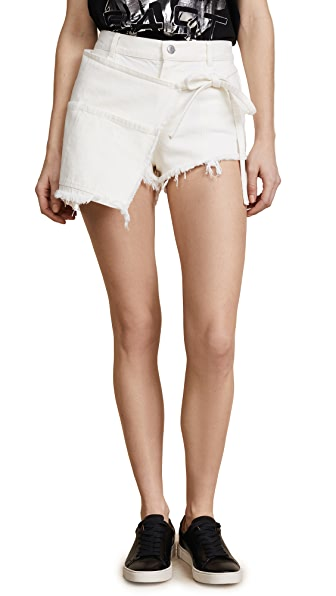 SANDY LIANG Woman Perry Wrap-Effect Frayed Denim Shorts White in Coconuts