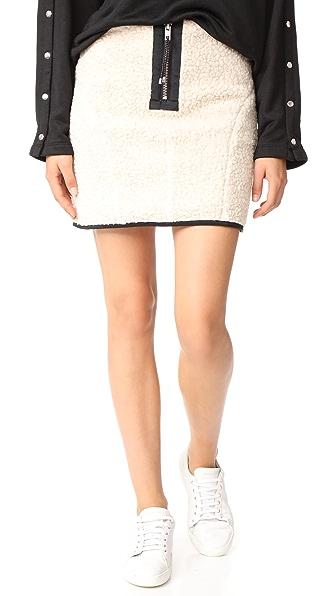 Sandy Liang Zaddy Sherpa Skirt In Fleecy