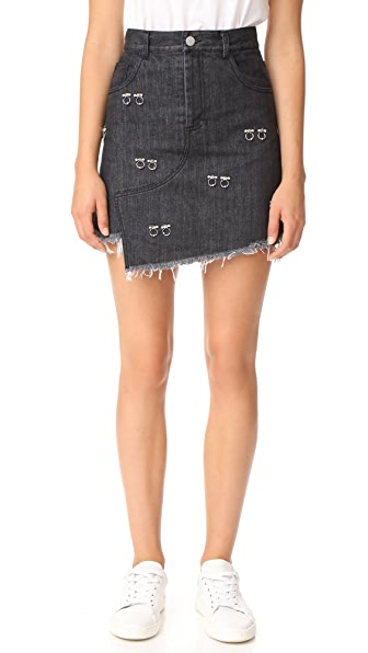 Sandy Liang Embellished Crombie Skirt - Black