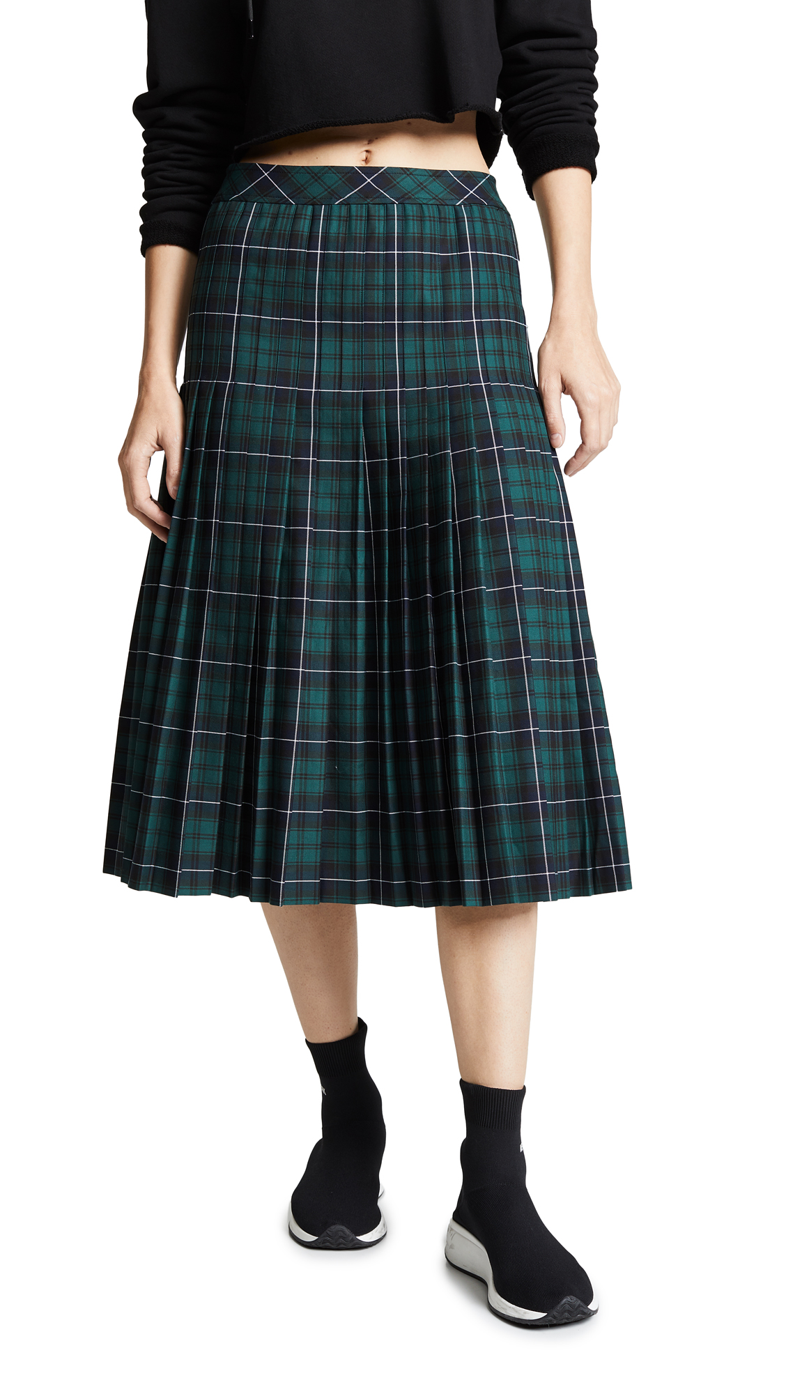 Checked Pleated Cotton-Canvas Midi Skirt, Tartan