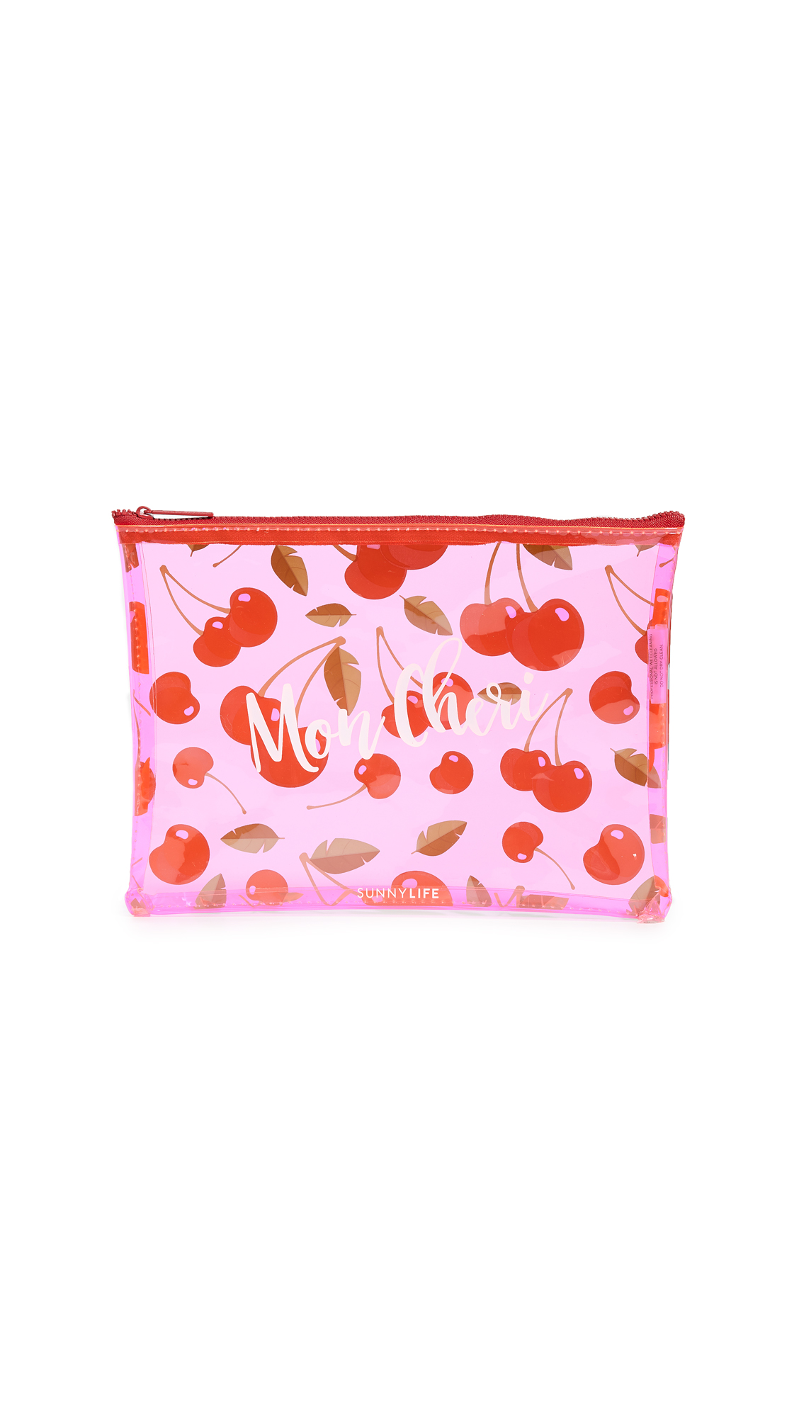 SUNNYLIFE Cherry See Thru Pouch in Red/Pink