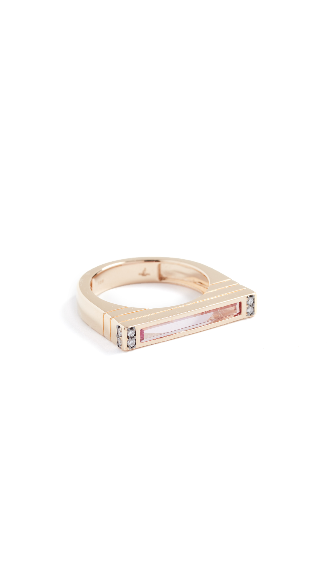 Sorellina 18K Gold Ring with Center Stone and Diamonds In Pink