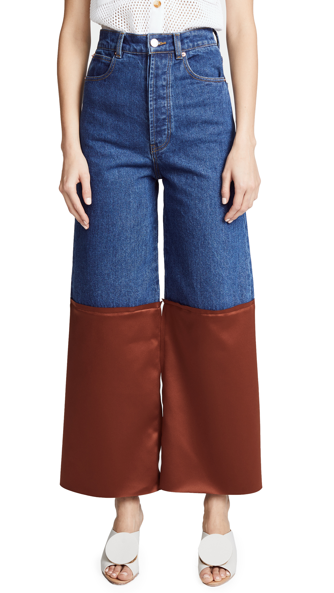 Solace London Amira Jeans In Blue/Brown