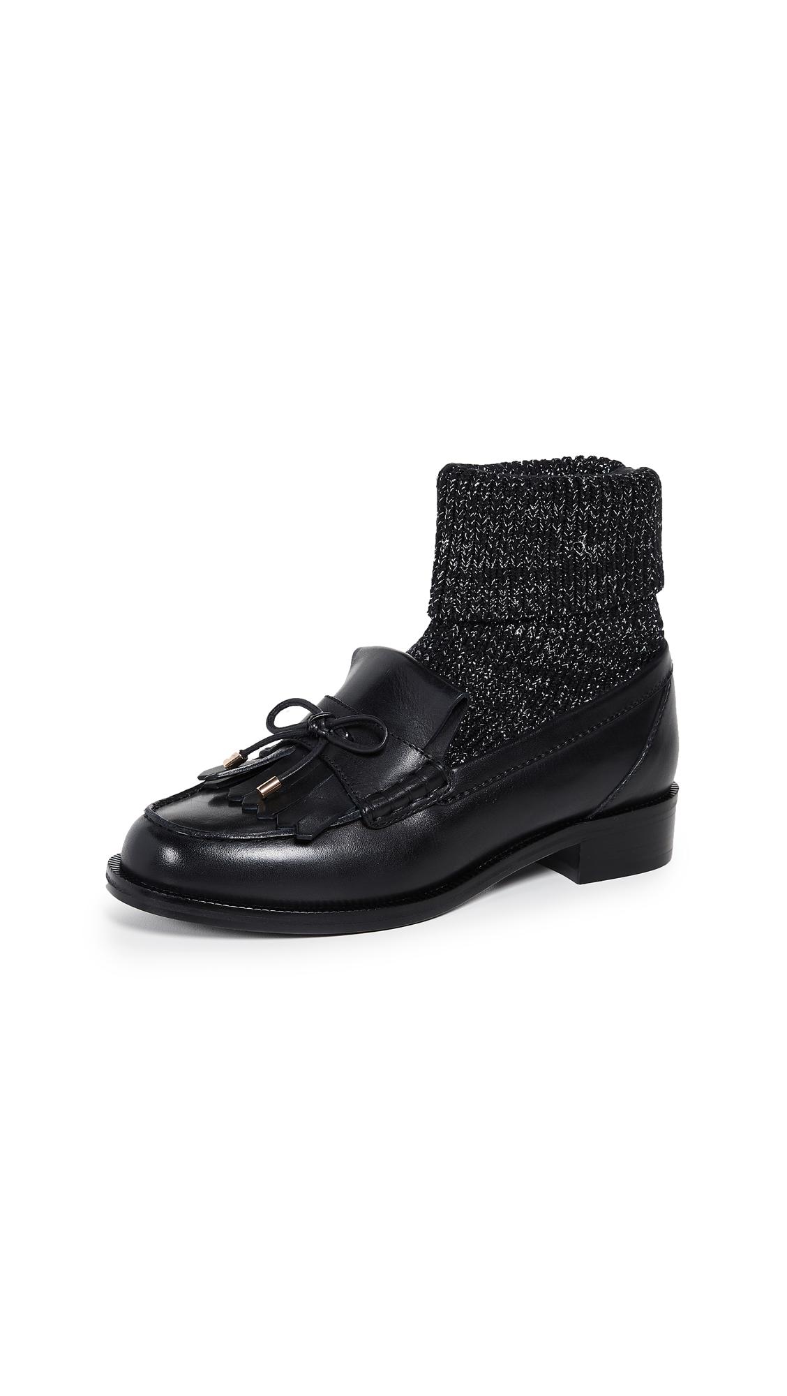 Stella Luna Sorority Moccasin with Sock - Black/Silver