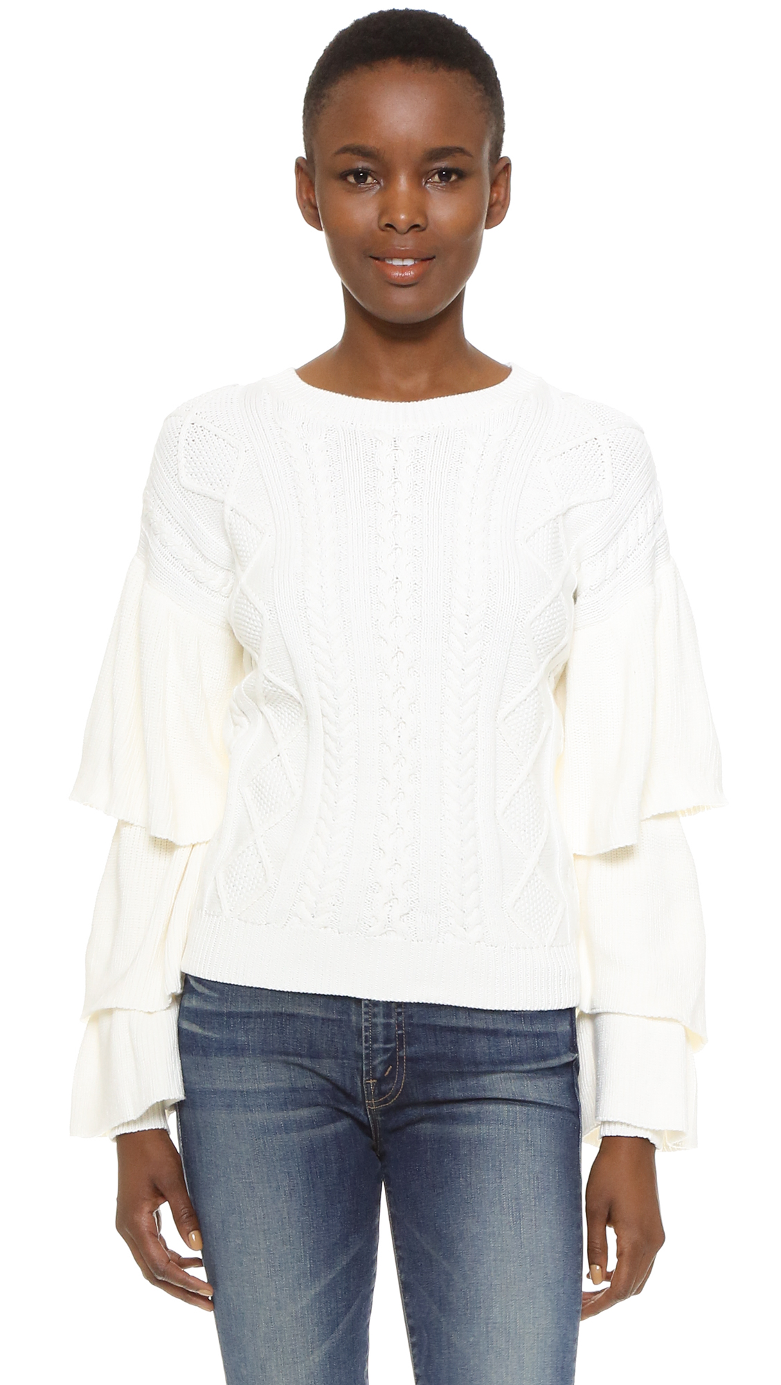 A cable knit Style Mafia sweater gains modern edge with layered ruffles at the long sleeves. Ribbed crew neck and edges. Fabric: Knit. 55% acrylic/45% cotton. Dry clean. Imported, China. Measurements Length: 7.75in / 20cm, from shoulder Measurements