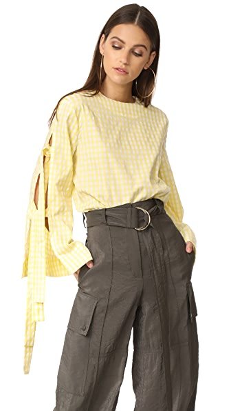 Style Mafia Gingham Blouse In Yellow