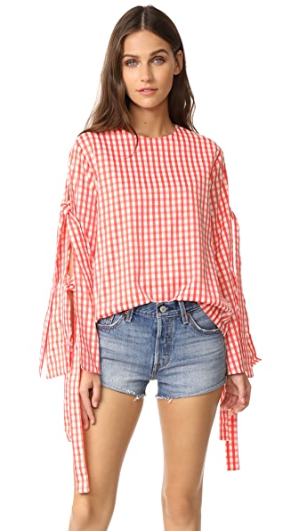 Style Mafia Gingham Blouse In Red
