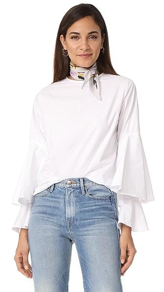 Style Mafia Cascade Sleeve Blouse - White