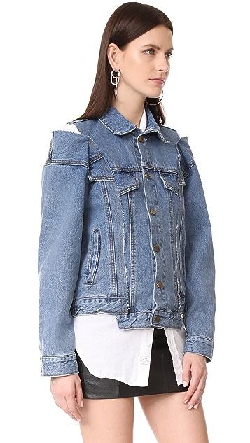 Style Mafia Cold Shoulder Denim Jacket