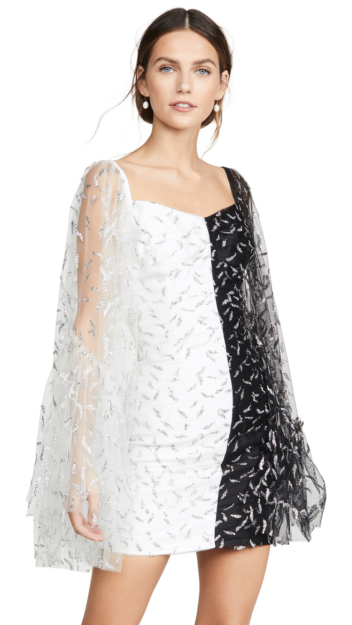 Buy Sandra Mansour online - photo of Sandra Mansour Glitter Tulle and Mikado Mini Dress