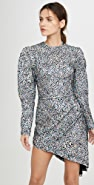 Sandra Mansour Sequined Velvet Leopard Mini Dress