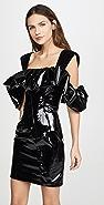Sandra Mansour Patent Ruffled Mini Dress
