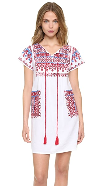 Star Mela Lina Embroidered Dress - White/Red/Blue