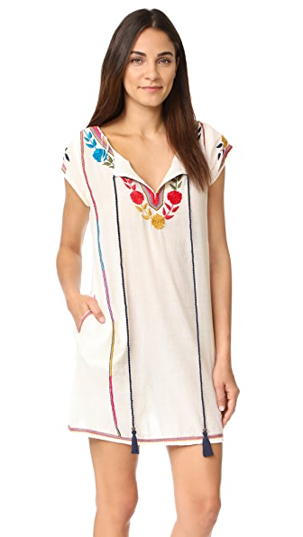 Star Mela Lani Embroidered Dress - Ecru/Multi