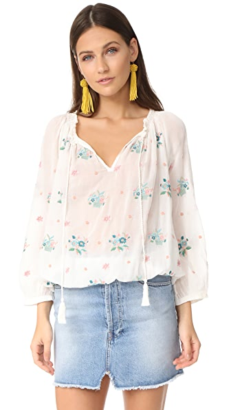 Star Mela Meili Embroidered Top - Ivory Multi