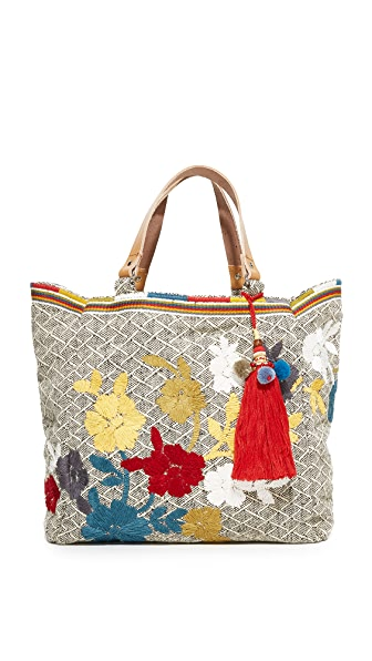 Star Mela Amaris Embroidered Tote - Black/Multi