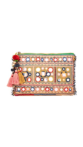 Star Mela Lipika Embroidered Clutch - Khaki