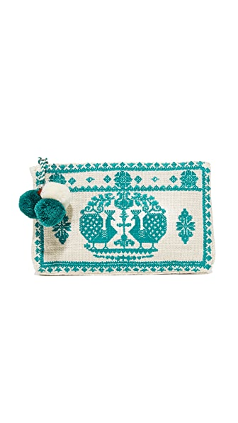 Star Mela Palma Embroidered Purse - Ivory/Petrol