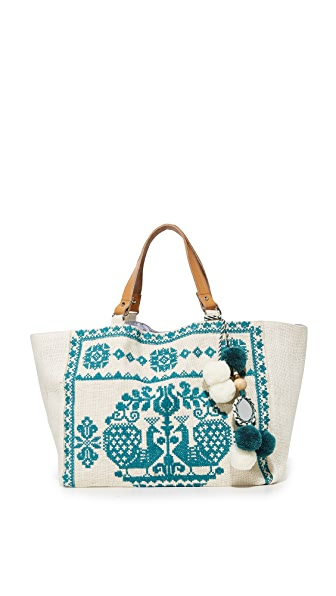 Star Mela Palma Embroidered Tote - Ivory/Petrol