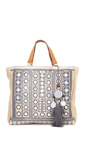 Star Mela Pinki Embroidered Tote - Ivory/Grey