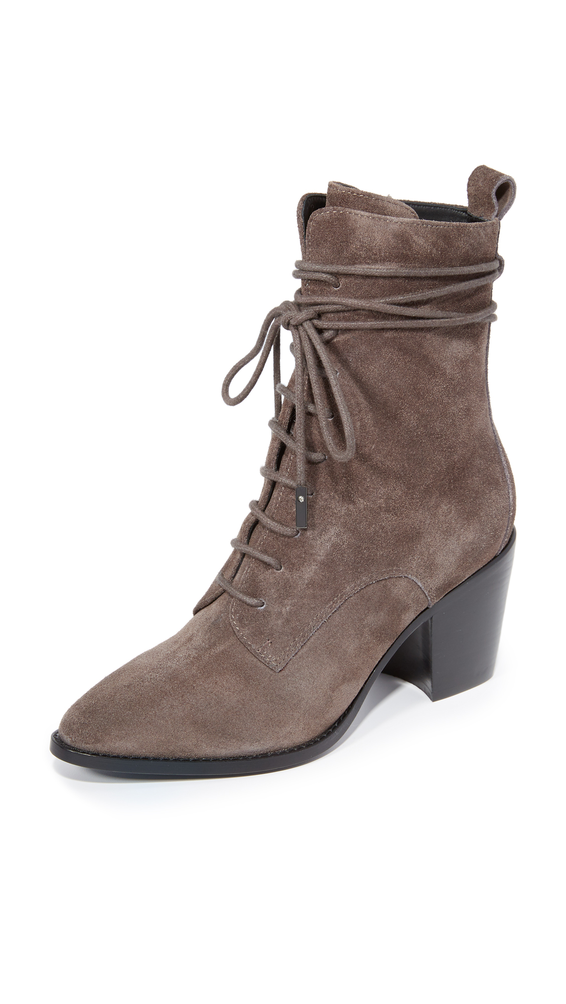 Sigerson Morrison Duran Lace Up Booties - Anthracite