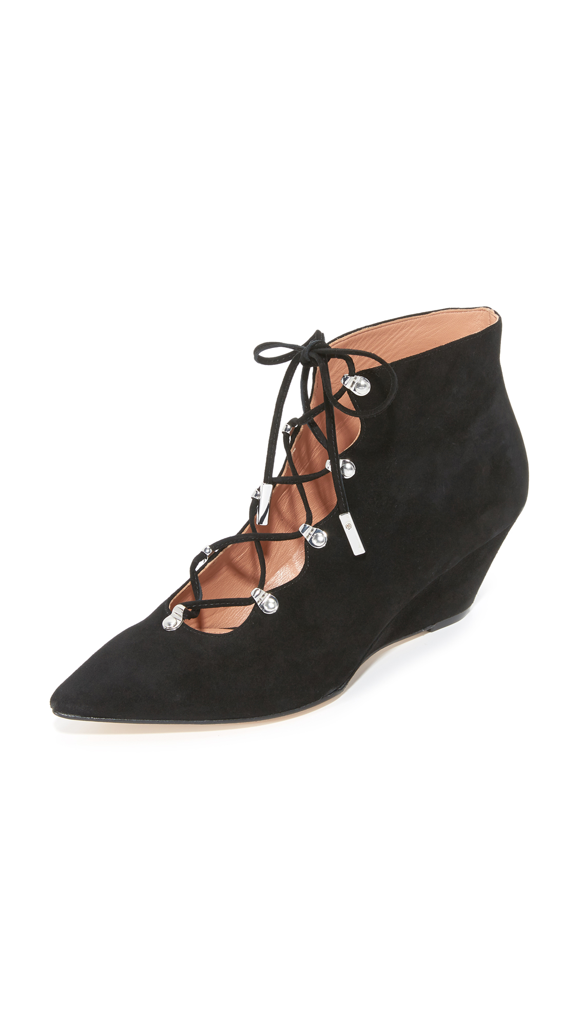 Sigerson Morrison Wing Lace Up Wedge Pumps - Black