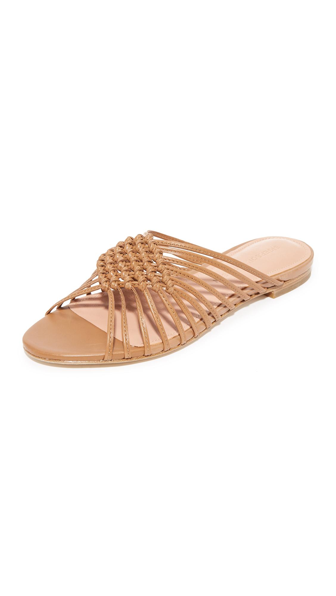 Sigerson Morrison Aggie Woven Slides - Tan
