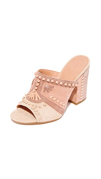 Sigerson Morrison Phillip Embroidered Mules - Blush/Beige/Dk Nude/Apricot